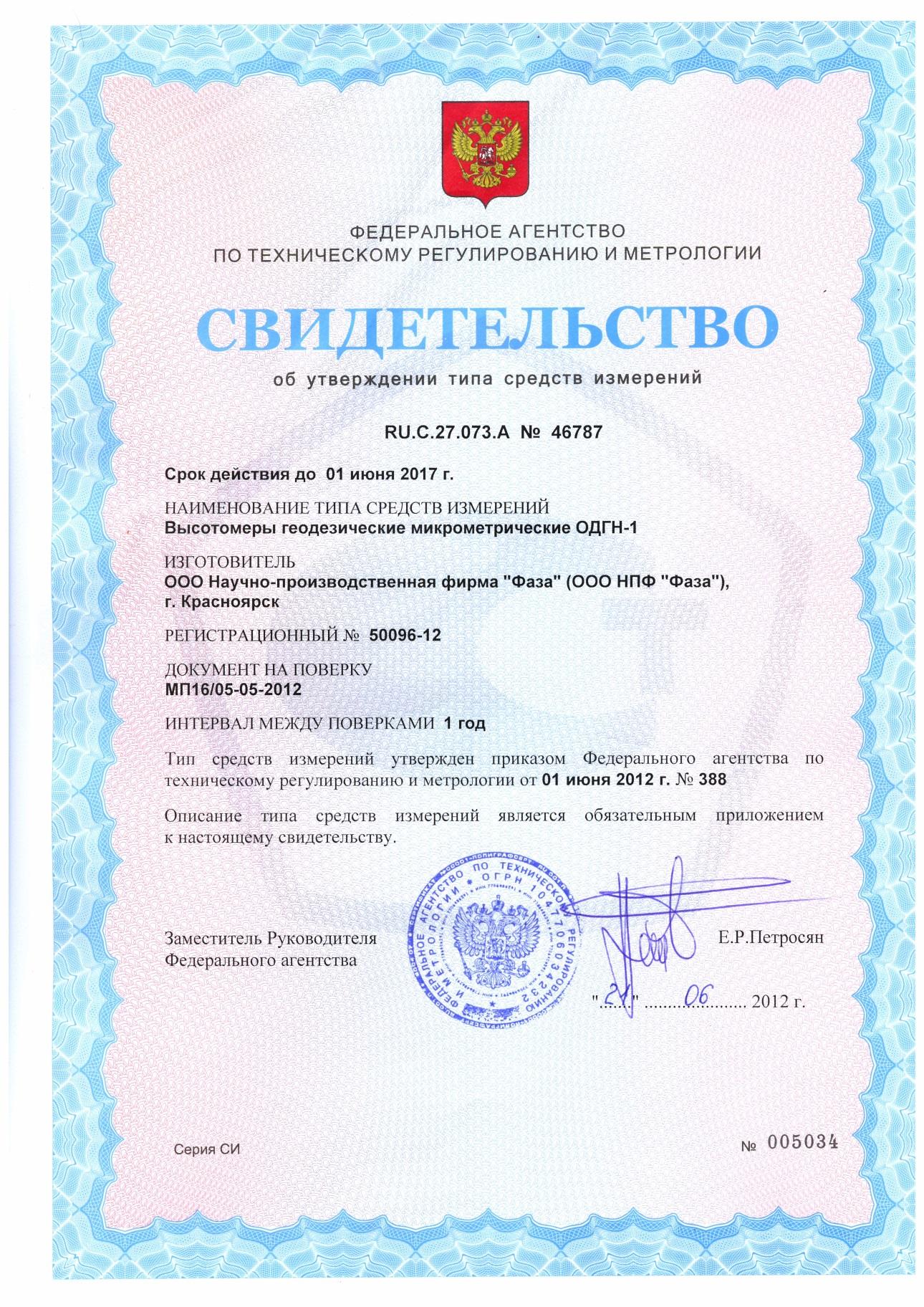 Свидетельство об утверждении типа средств измерений прибора ОДГН-1